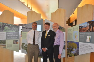 Edinburgh Botanics Director of Science Pete Hollingsworth (centre) shows off the new ash dieback exhibit to the chair of the Scottish Tree Health Advisory Group, David Henderson-Howart (left) and Phil Balls (right), Scottish Government (RESAS).