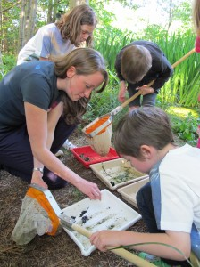 Emma Goodyer, RBGE PhD student, helping to identify pond life