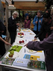 Volunteers from the Royal Caledonian Horticultural Society running apple tasting for visitors