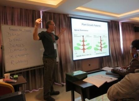 Today's class at Kunming BG was pruning: Martyn Dickson delivering morning lecture