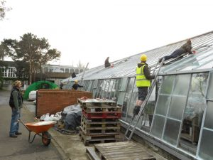 Repairing glass following storm of 3.1.2012. Photo by Tony Garn