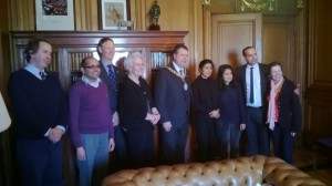 Amisha Bhandari and Mandira Bhattarai from Get Paper Industry and Mark Watson and Bhaskar Adhikari from RBGE meeting the Lord Provost the Rt Hon Donald Wilson
