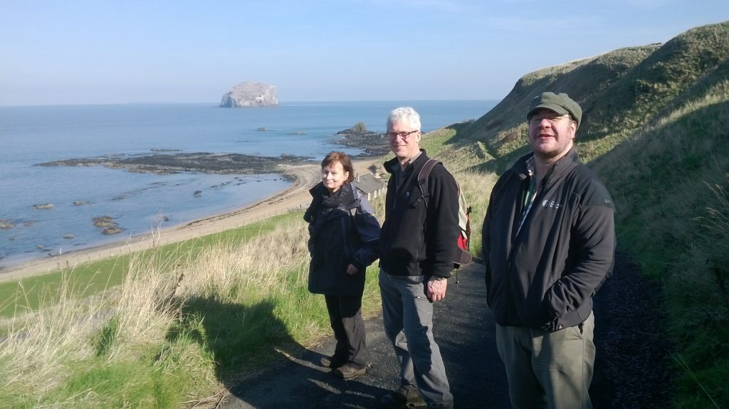 Jan, Andy and Simon searching for wild carrot in East Lothian during March 2014.