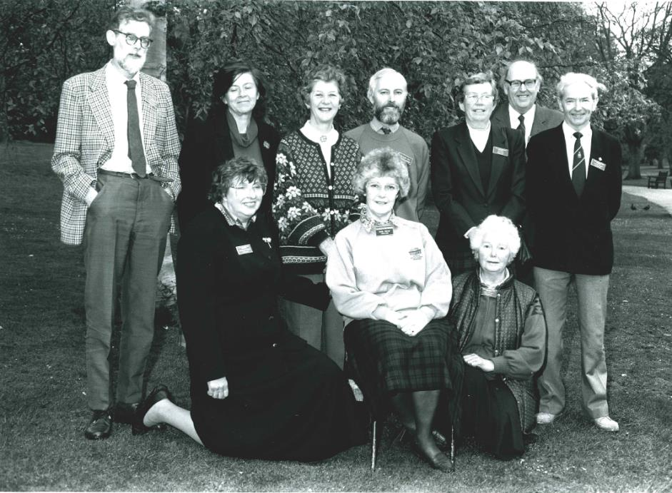 (Back) Geoff Harper, Ailsa Stebbings, Sylvia Cunningham, Malcom Cox (adviser), Gill Smith, John McKay (former Lord Provost of Edinburgh) and Lawrie Buchan. (Front) Constance Gillingham, Sally Heron and Mary Stewart.