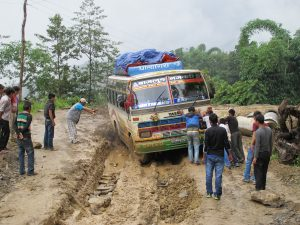 Our first bus the Burtibang Express. Road conditions at times in Baglung District Nepal