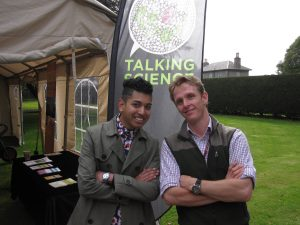 Josh and Mark at the marquee in Cruickshank Botanic Garden.