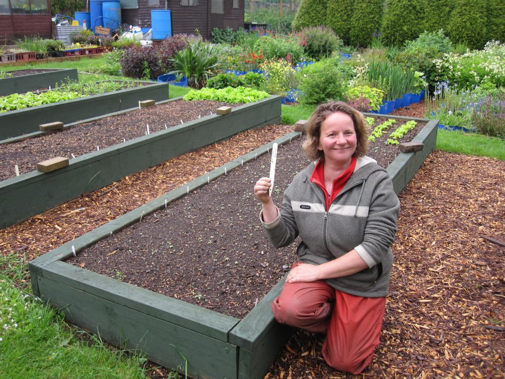 Elinor and the trial plots at Redhall Walled Garden, Edinburgh.