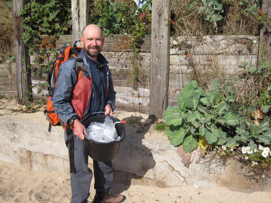Richard ready to sample soils at the Fife location of the wild cabbage used for the Really Wild Veg growing trials.