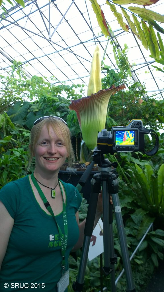 Marianne with one of the two thermal imaging cameras used to record the heating of the titan arum. Image: copyright SRUC.