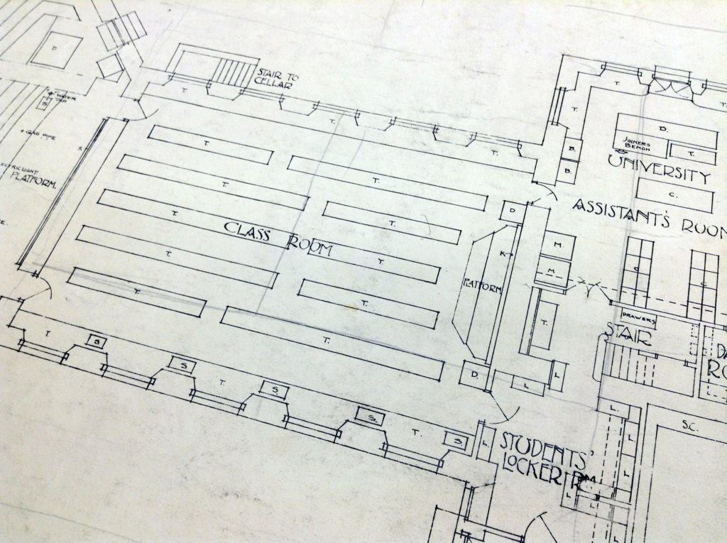 Plan in the RBGE Archives showing the classroom layout in the 1880-90s. This is now our conference room.