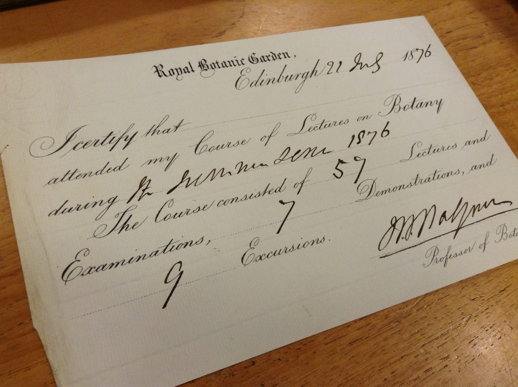 Certificate issued by John Hutton Balfour in 1876 at the end of the Botany course - presumably Conan Doyle would have received a similar one the year after.