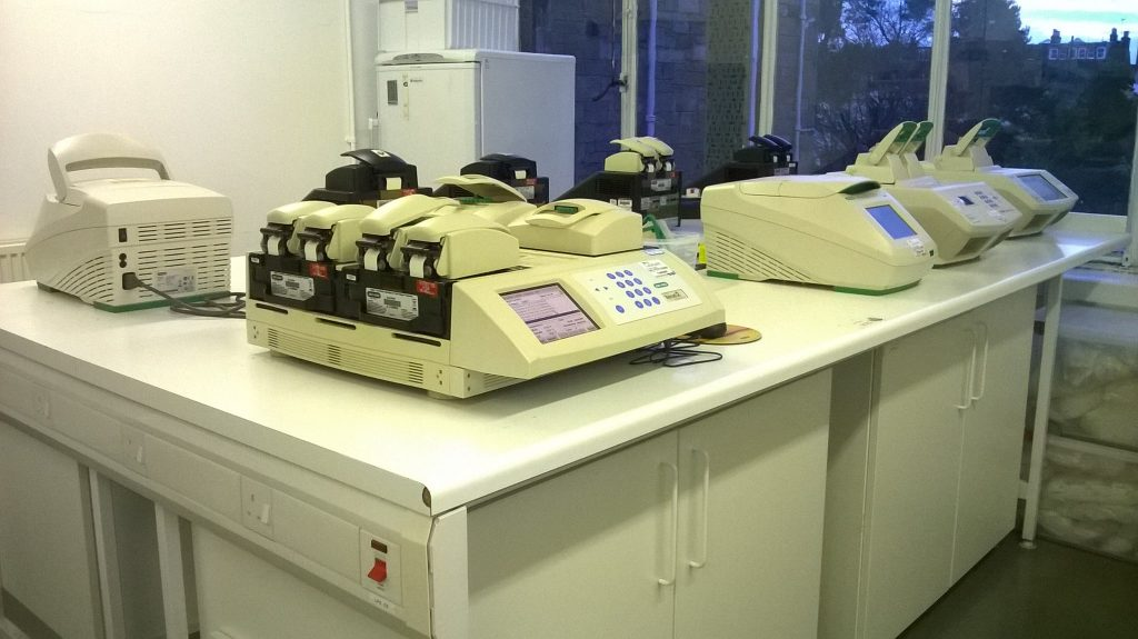 Our hard-working PCR machines wait for samples in the molecular lab