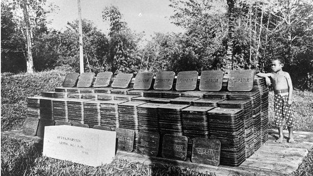 Tjipetir blocks from the factory in Java around 1900's