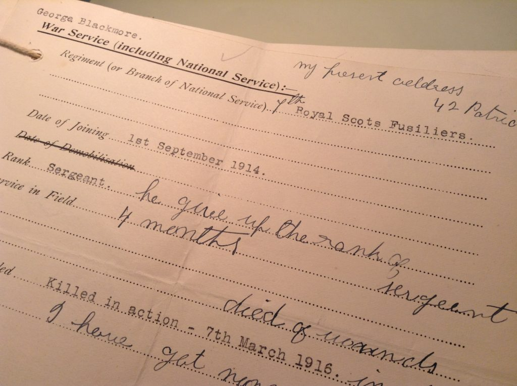 George Blackmore's Service Card, RBGE Archives