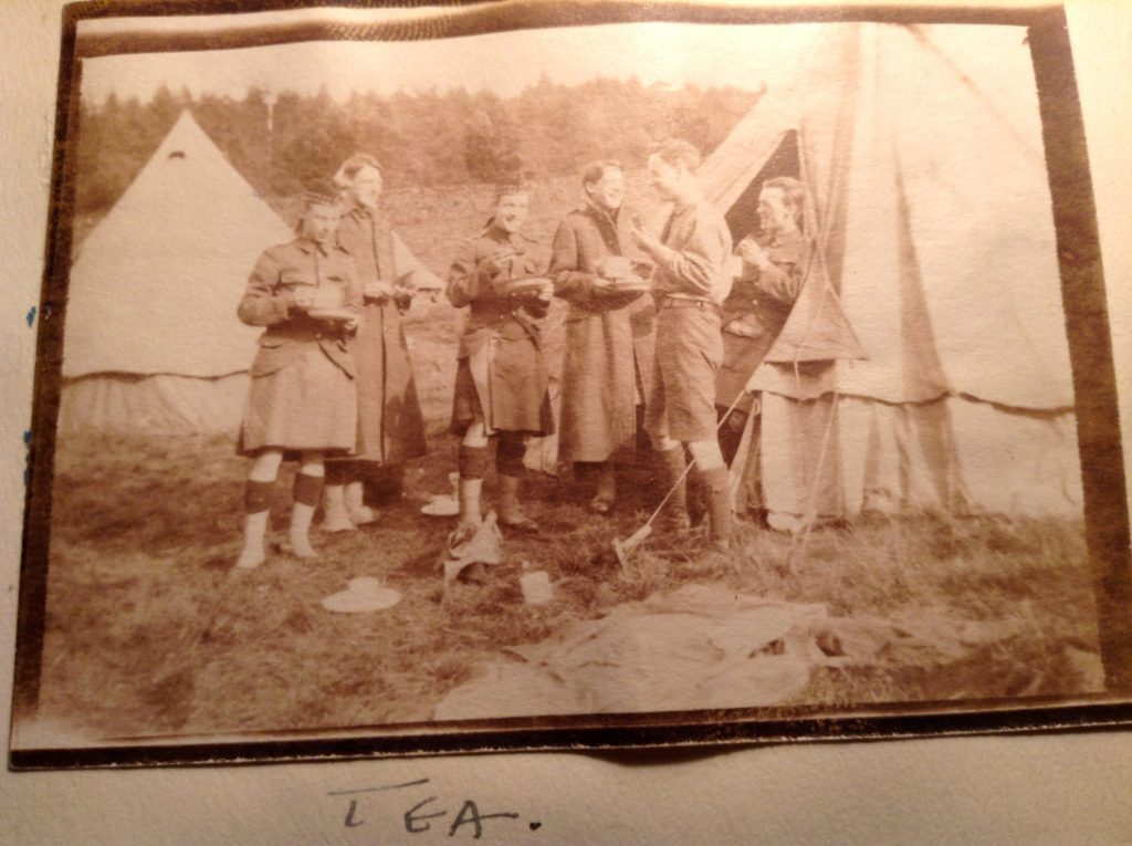 John Anthony and his fellow cadets enjoy tea in the camp, likely Peebles, c.1915.