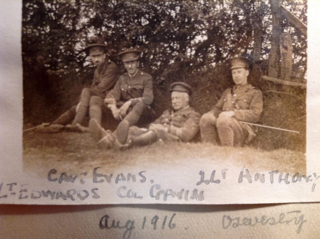 2nd Lieutenant Anthony with Lieutenant Edwards, Captain Evans and a very relaxed Colonel Gavin in Oswestry, August 1916; around a month before Anthony is sent to the Western Front.
