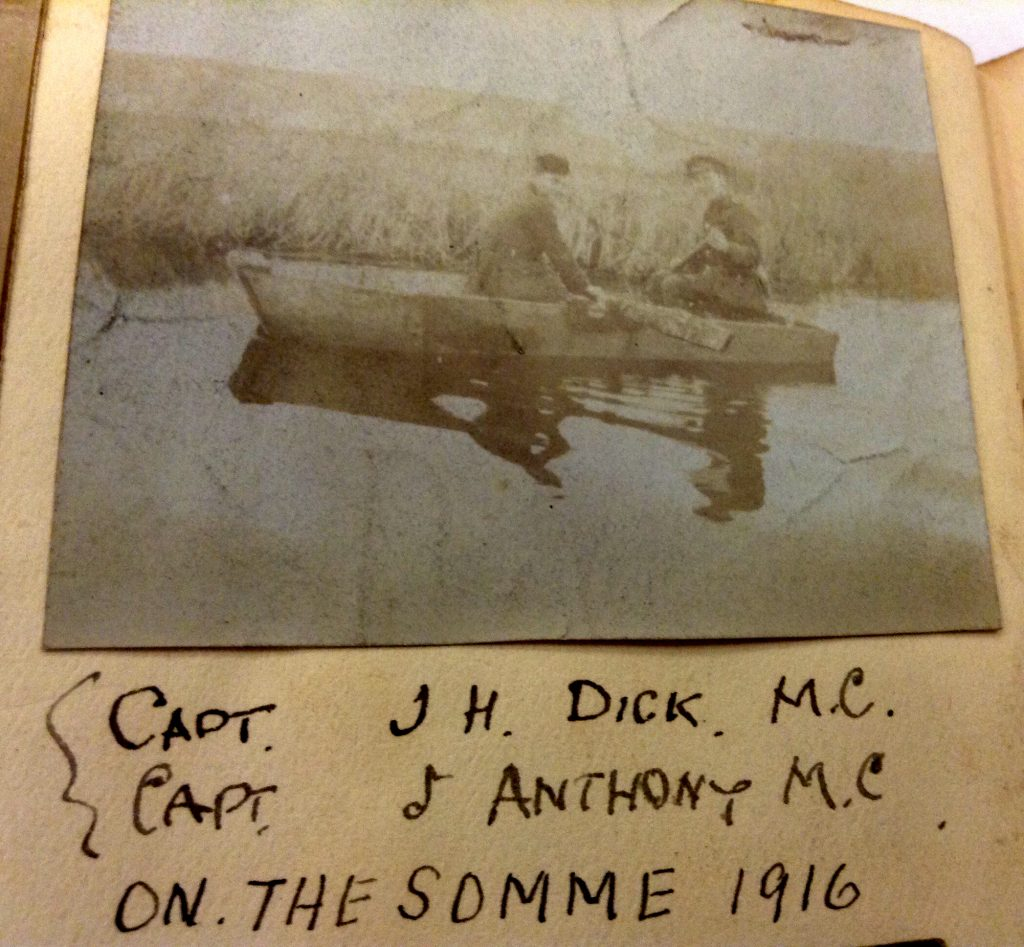 Photograph of James Hamilton Dick and John Anthony (both 2nd Lieutenants at the time) on the Somme in 1916. Both were to win Military Crosses by 1918.