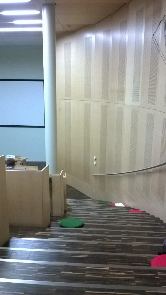 Lecture theatre, Gregor Mendel Institute, with stairway scatter cushions
