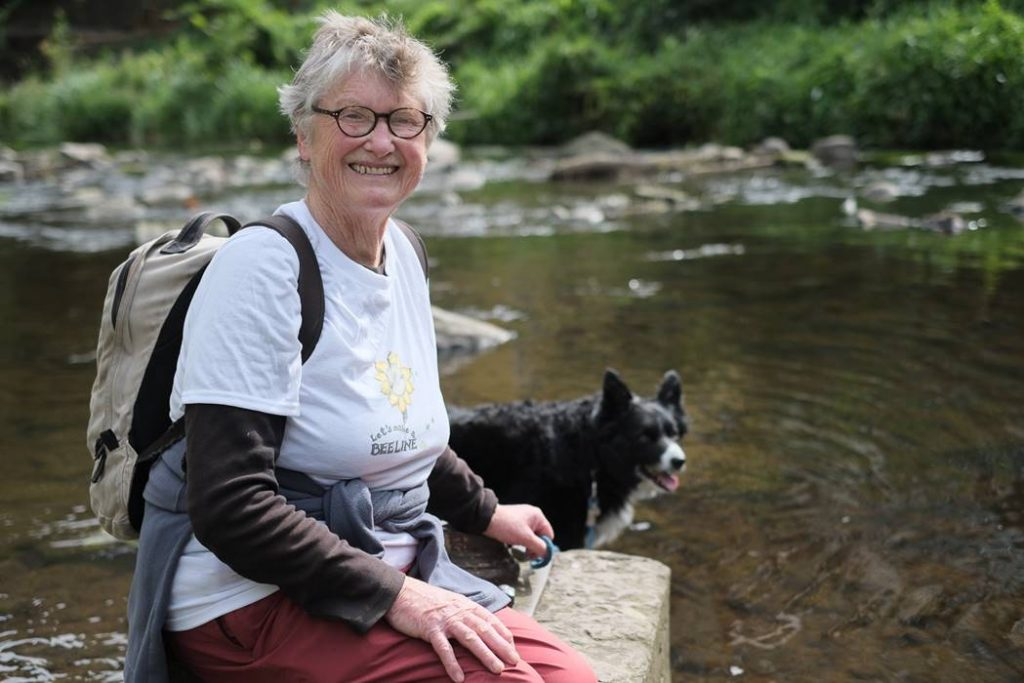 Meg at the Water of Leith on the first day of her Let's Make a Bee Line walk to raise awareness about the plight of bees.