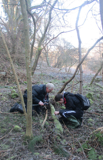 David Long and Kenneth checking out the Lophocolea on a decaying log in the Scottish Borders