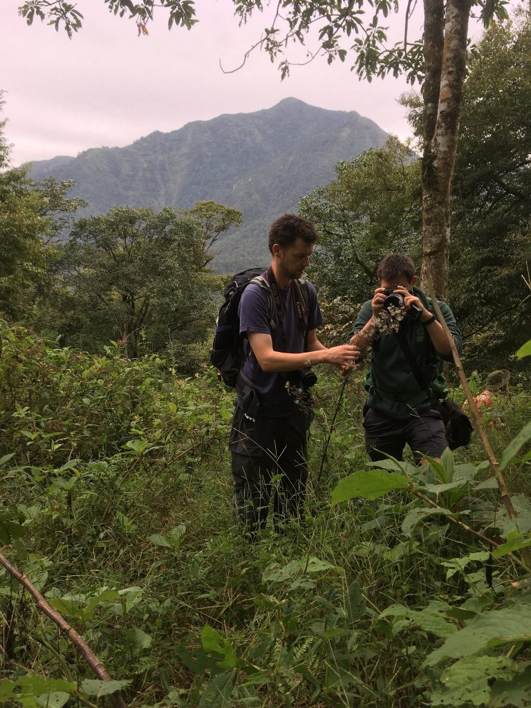Andy and Alex take a photograph of a specimen at Xa Ban Khoang