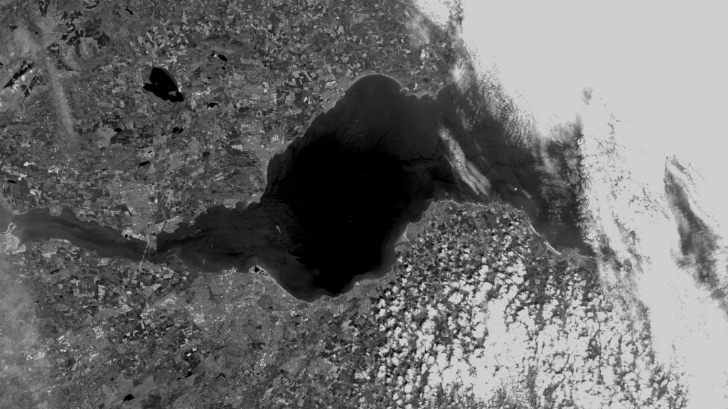 Landsat 8 Panchromatic sample captured on 3rd June 2016 (note incomplete new Forth crossing)