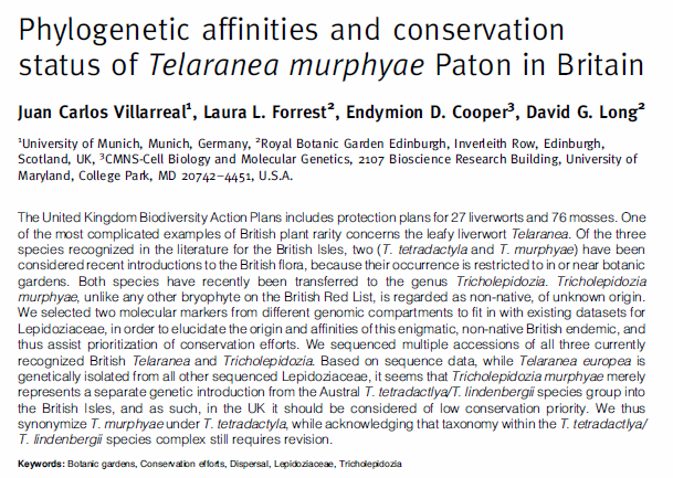 Villarreal et al. 2014, Journal of Bryology 36(3): 191-199