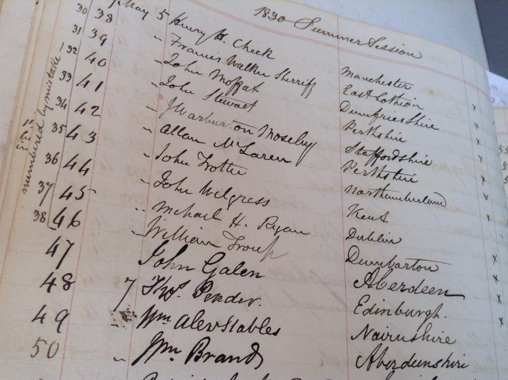 The 1830nEdinburgh University Botany Class Lists, showing Brand's name (50)