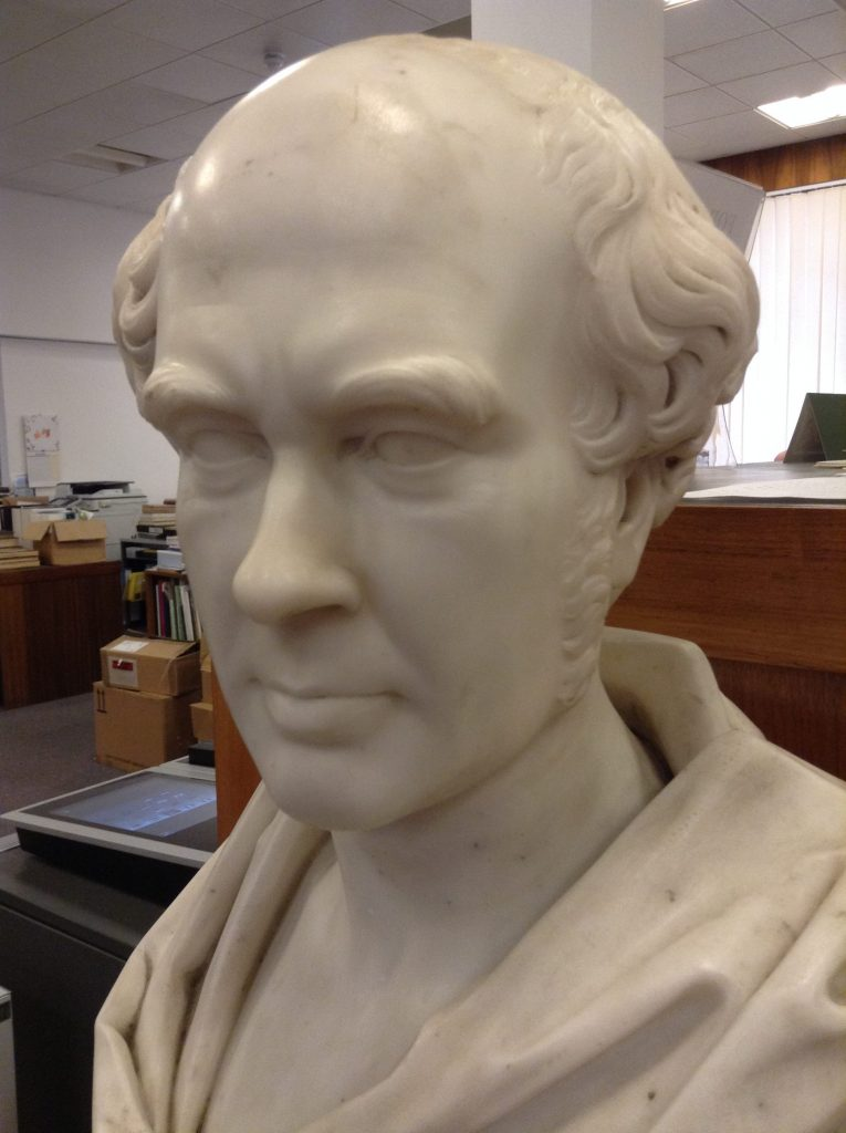 William Brand's bust in its new home at RBGE