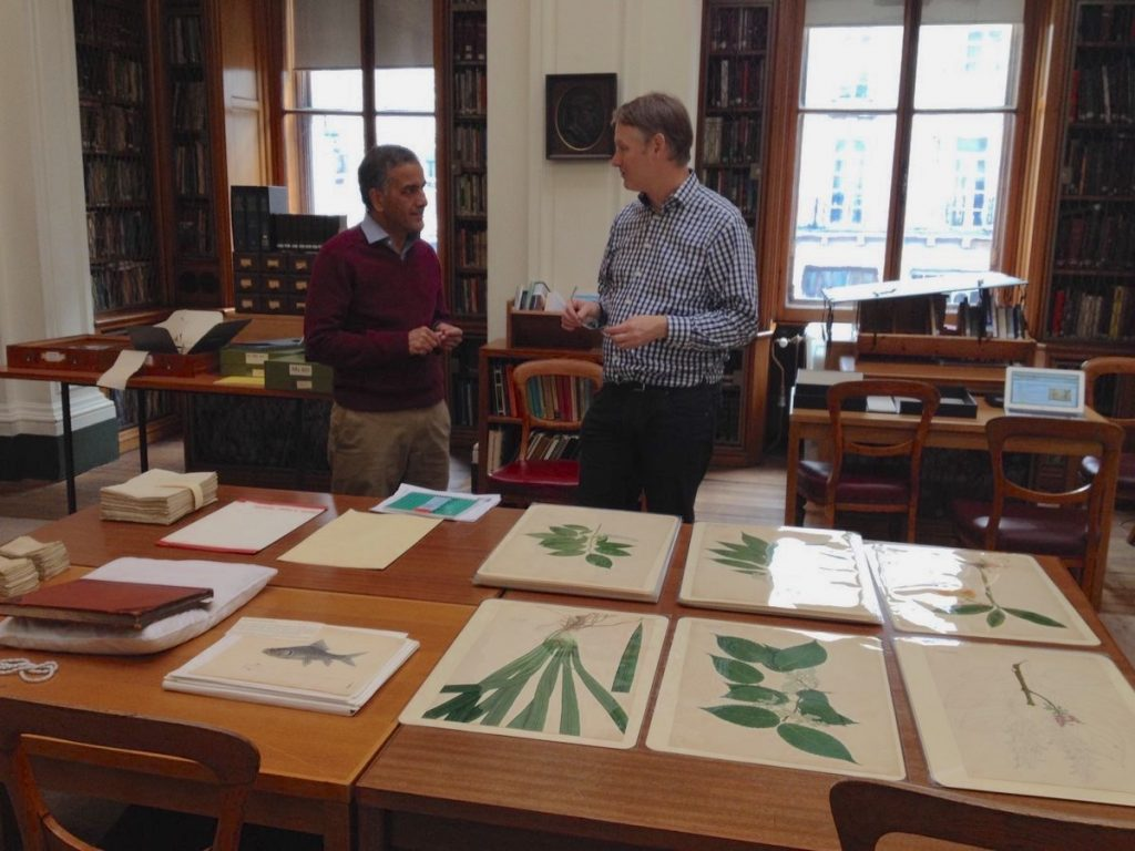 Bhagirath Yogi and Mark Watson in the library of the Linnean Society (photo: Isabelle Charmantier)