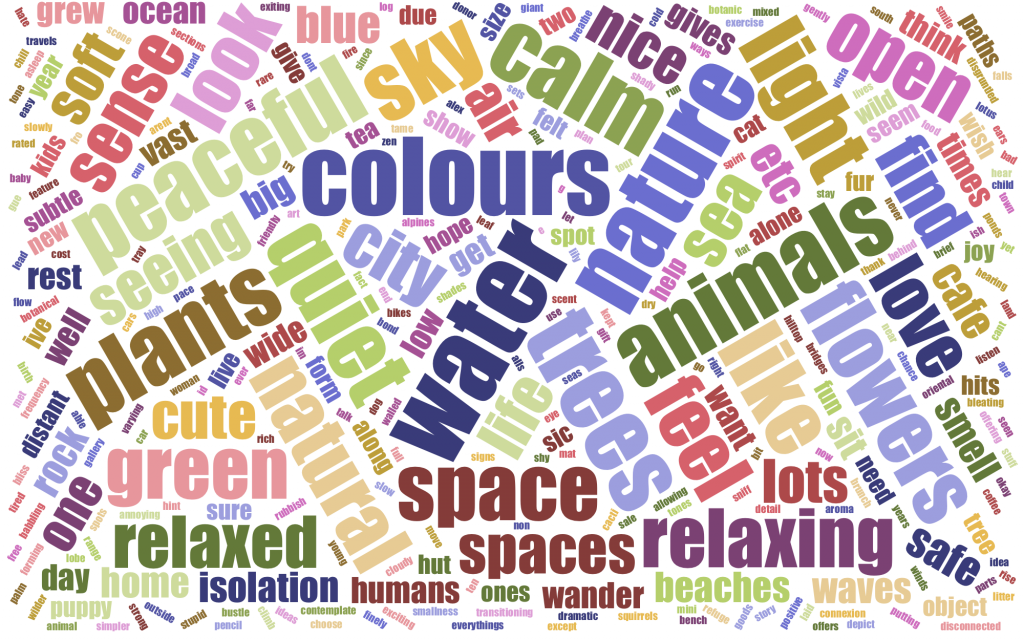 Word cloud of comments about the gardens and the panels submitted during the exhibition.
