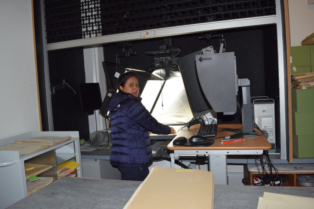 Researcher Rita Chhetri imaging Nepalese specimens of Juncaceae at RBGE Herbarium