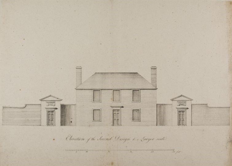 image shows John Hope's early botanic garden on Leith Walk illustration. The building's drawing presents the elevations and the first design of the historical botanic cottage. It is a simple building with six windows and a door in the middle and a gate with two additional entries