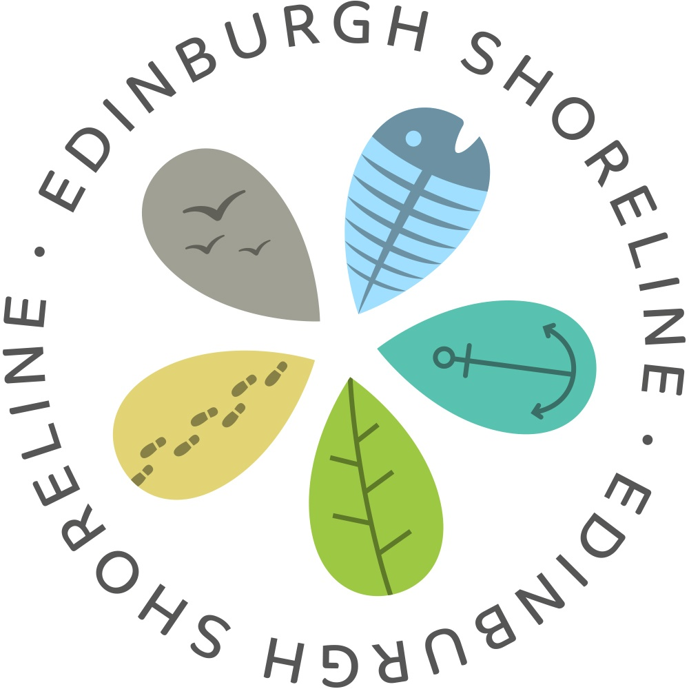 A graphic image with four petals each a different cmuted pastel colour with sea related graphic outlines. the petals are edged with the tag line Edinburgh Shoreline.