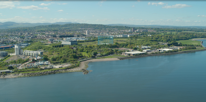 A view of Edinburgh taken from the Firth of Forth. It shows Granton in the foreground, of note is the Granton gas works.