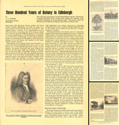 Composite image of the four pages of Jimmy's 1970 Nature article