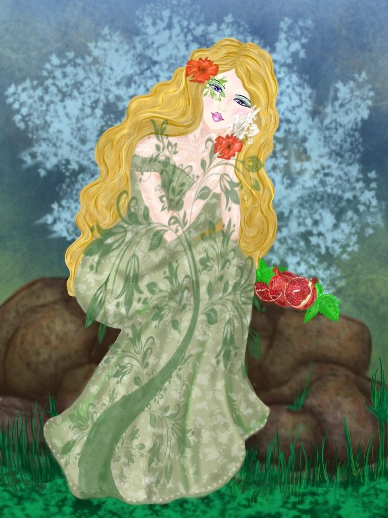 Image of the beautiful goddess persephone with long blonde hair and green robe seated on a log beside pomegranates.