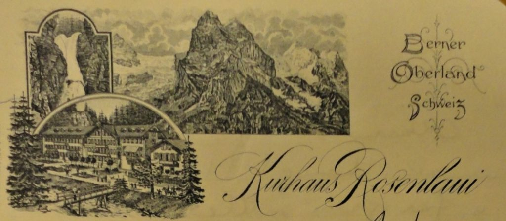 image showing letterhead with image of hotel in the mountains