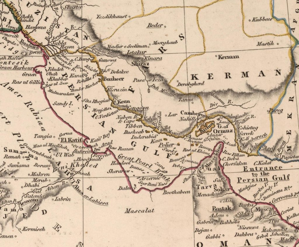 1828 map of the Persian Gulf