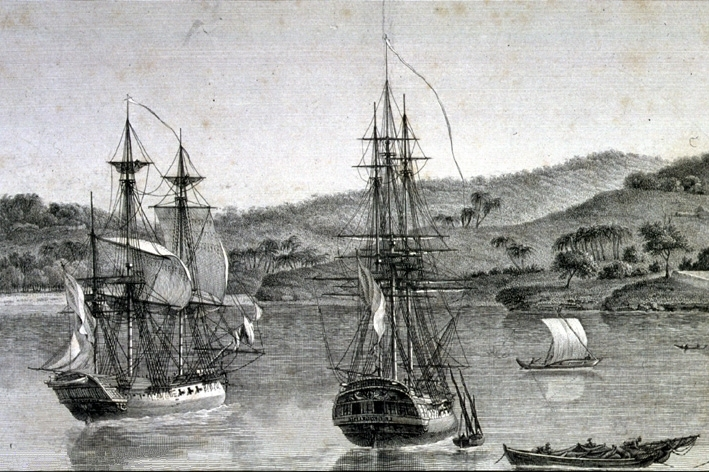 Engraving of Baudin's ships Géographe and the Naturaliste