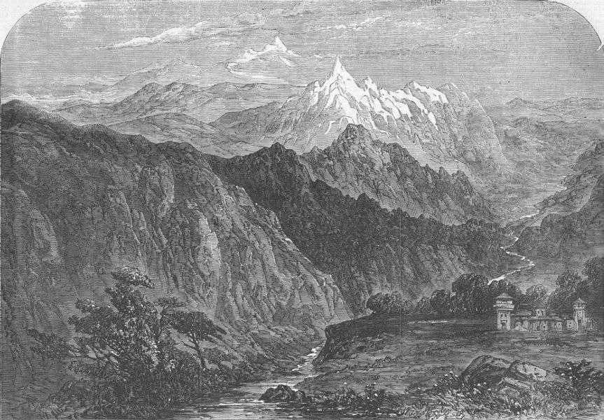 Ilustration of the Hungarung Pass (Shipki La) in the NW Himalaya,