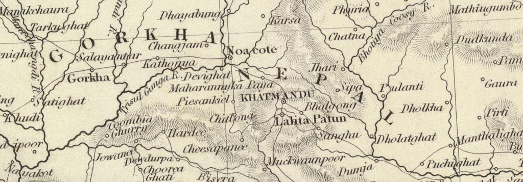 Map of Kathmandu and surrounding areas