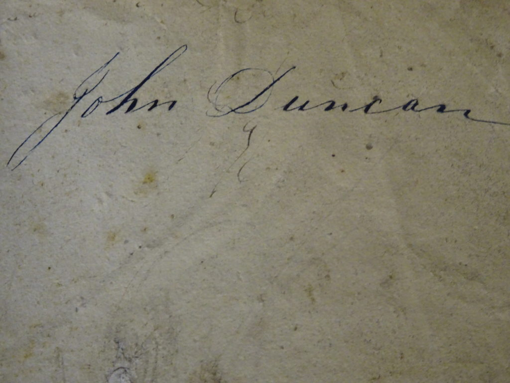 To give an example of the signature of John Duncan the weaver botanist from Aberdeenshire